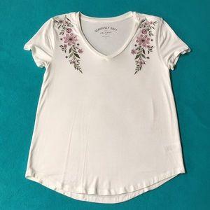 White Embroidered V-Neck